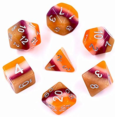 Dice Sets Polyhedral Multi Sided Gaming Dice for Dungeons and Dragons DND RPG MTG Table Games Dice (Orange)