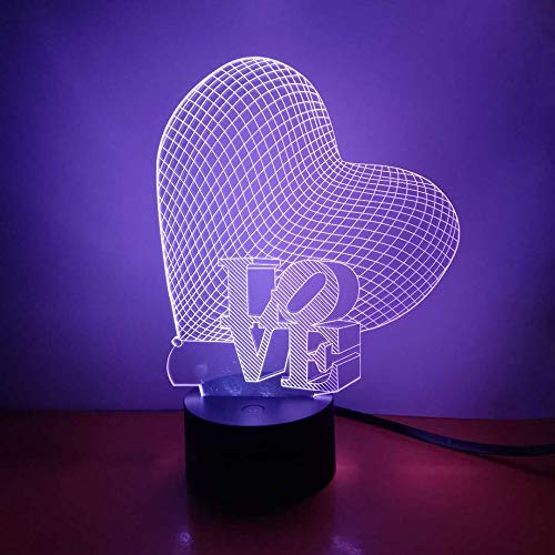 Love & Heart 3D Night Light LED Illusion Lamp, Loveboat 7 Color Changing Lights with Acrylic Flat & ABS Base & USB Charger as Home Decor and A Best Gift