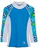 Tuga Girls Shoreline L/S Rash Guard (UPF 50+), Aquamarine, 4/5 Yrs