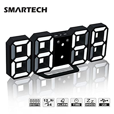 3D LED Digital Alarm Clock Easy To Read at Night, Silent Clock with Snooze, 3 Brightness Levels, Modern Desk Shelf Table Wall Alarm Clock for Travel Kids Bedroom Heavy Sleepers - ✈【FASHION DESIGN】SMARTECH alarm clock has selectable 12H / 24H formats. You can set the 12 hour modes or the 24 hours modes by press UP button for 3 seconds. With 8.4 x 3.4 inches large 3D LED display, time is clearly to see at a glance. This electric clock is great and easy to use for kitchen, hotel, table, desk, office or bedside clock ✈【3 ADJUSTABLE BRIGHTNESS】Digital wall clock has 3 levels of brightness (Bright/Medium/Dim) to choose that could meet changing requirements in different time and environments ✈【SNOOZE AND ALARM SETTINGS】Features with snooze and wake-up function. And the snooze time can be freely adjusted from 5 to 60 minutes. Ideal for you to have a better sleep and keep a relax mood - clocks, bedroom-decor, bedroom - 51BHfDJUPNL. SS400  -