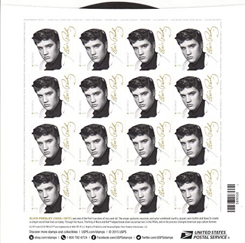 Sheet of 16 Elvis Presley Forever Stamps from the U.S. Postal Service (2015 New Release) (Gotta Go My Own Way Sheet Music)