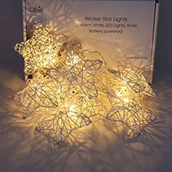 Wicker Star Fairy Lights with Timer, Battery Powered, Warm White LEDs. Decorative  lighting