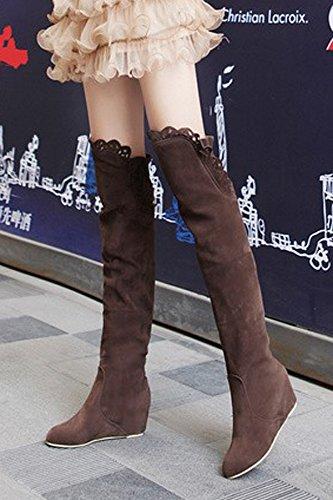 TOOGOO (R)Mode Frauen Spitze Schenkel ueber Knie Stretch Schuhe Stiefel hoher Absatz braun 38