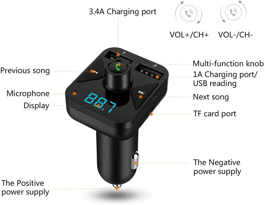 Radio Adapter Wireless Bluetooth FM Transmitter MP3 Player Handsfree Car Kit with USB Charging Ports happyhouse009 Audio Music Mp3 Player FM Transmitter,Wireless In-Car Bluetooth FM Transmitter