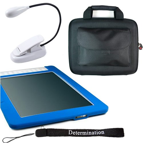 - Amazon Kindle DX Combo: Blue Silicon Skin With Black Kroo Cube Travel Carrying Pouch Case with Side Pocket + Includes a 4-Inch Determination Hand Strap and 2LED UltraFlex2 E-Reader Might Light