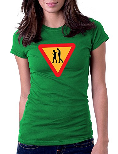 Yield Texting Status Updates Phone Addicted - Womens Tee T-Shirt, Medium, Green