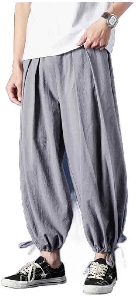 Nicellyer Men Chinese Costume Cotton Linen Harem Chinese Style Summer Leg Pants