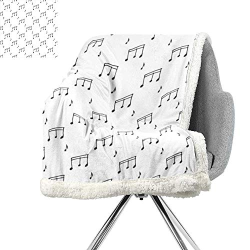 ScottDecor Music Blanket Small Quilt,Musical Notes Theme Melody Sonata Singing Song Clef Tunes Hand Drawn Style Pattern,Charcoal Grey,Warm Breathable Comforter for Girls Kids Adults W59xL31.5 Inch