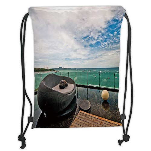 Custom Printed Drawstring Sack Backpacks Bags,Patio Decor,Thailand Pattaya City Ocean Sea Shore View Balcony Veranda Terrace,White Black and Green Soft Satin,5 Liter Capacity,Adjustable String ()