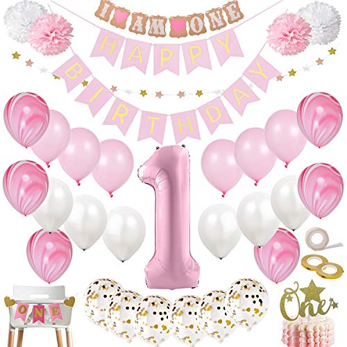 DIvine 1st Birthday Party Decorations for Girl Mega Set | Pink and Gold Girls Theme Kit | First Bday 1 Year Balloons, One Cake Topper, Pom Poms, Happy Birthday Banner, More Decor Supplies