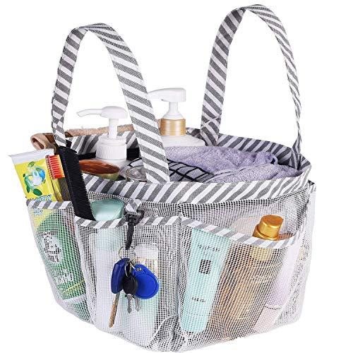 (Haundry Mesh Shower Caddy Tote, White College Dorm Bathroom Tote with 8 Pockets, Portable Shower Basket for Camp Gym)