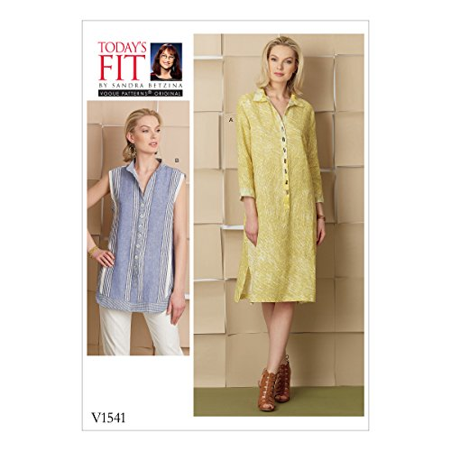 Vogue Patterns V1541 Misses' Loose-Fitting Dress and Shirt with Button-Front Placket Sewing Pattern, One Size Only