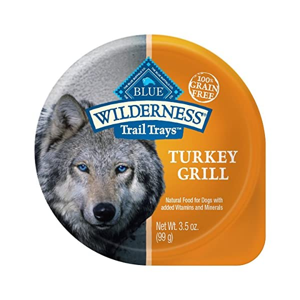 Blue Buffalo Wilderness Trail Trays High Protein Grain Free, Natural Adult Wet Dog Food Cups, Turkey Grill 3.5-Oz (Pack Of 12)
