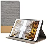 kwmobile Elegant canvas synthetic leather case for Huawei MediaPad M3 8.4 in light grey brown with convenient STAND FEATURE