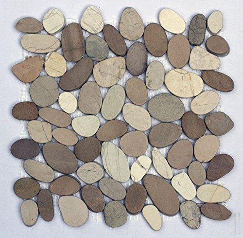 K-554 Kieselstein Mosaik Fliesen Weiß + Tan geschnitten Stein Boden Deko
