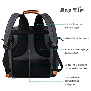 Diaper Bag Backpack with Changing Pad/Insulated Bottle Pockets/Water Resistance (dark grey-5279)