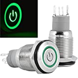 EopZol™ 16mm 12V Latching Push Button Power Switch Aluminum Metal Green LED Waterproof