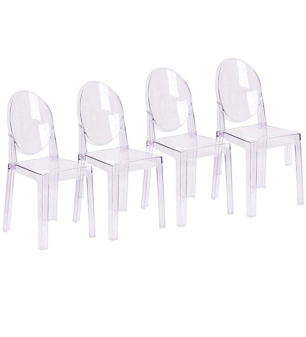 2xhome Set of 4 Large Size Clear Crystal Mid Century Modern Contemporary Ghost Side Chair Dining Room Chair Victoria Accent Seat Living No Arms Wheels Armless with Back Transparent Guest Work