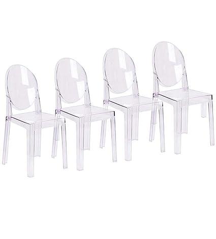 Amazon.com: 2xhome - Juego de 2 sillas modernas fantasma con ...