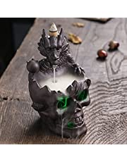 Incense Burner Skull Waterfall Incense Holder Ceramic Incense Fountain Decoration LED Incense Cones Ornamen for Home Office