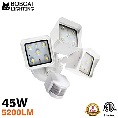 Bobcat LED Flood Lights 45 Watts 180 Degree Infrared Motion Sensor Three Head Light Direction Up Down Activated Outdoor Security Lights Energy Saving 5200 lumens 50K White, 45W