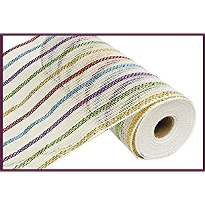 "10"" Wide Cotton Poly Deco Mesh Stripes White, Red, Green, Purple, Blue, Gold (10 Yards) 58"