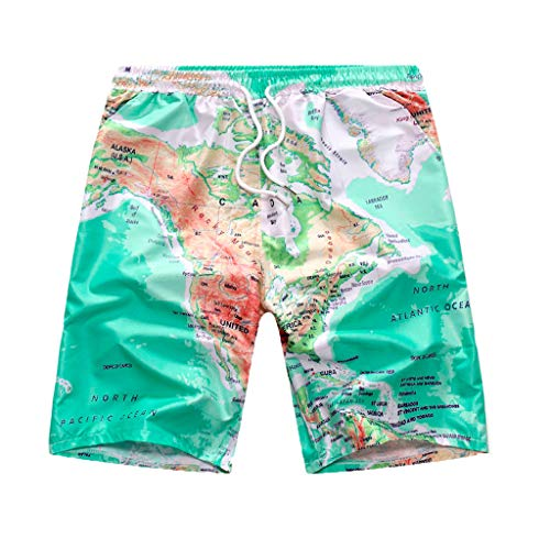 (Hawaii Map Print Shorts for Men, Huazi2 Button Beach Quick Dry Pants Green)