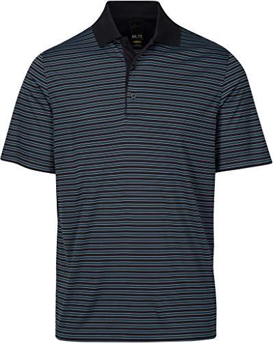 Greg Norman Men's Ml75 Protek Micro lux Stripe Polo Golf Shirt, Black, Large ()