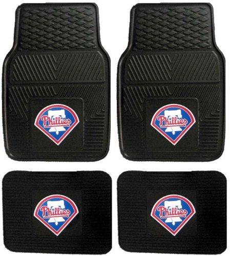 MLB Philadelphia Phillies Car Floor Mats Heavy Duty 4-Piece Vinyl - Front and Rear