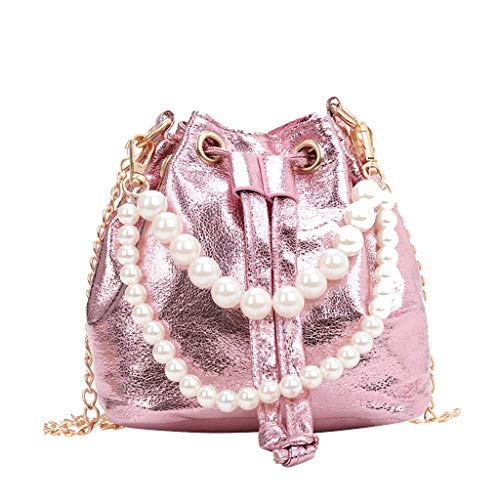 Kangma Women's PU Leather Shoulder Crossbody Bucket Bag Pearl Chain Tote With Adjustable Long Chain