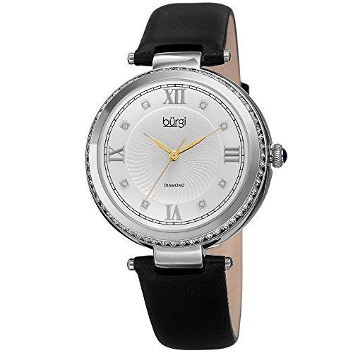 (Burgi Leather Women's Watch - Baguette Crystal Studded Bezel - GuillocheDial Genuine Diamond Markers - Black Genuine Leather Skinny Strap - BUR202SSB)