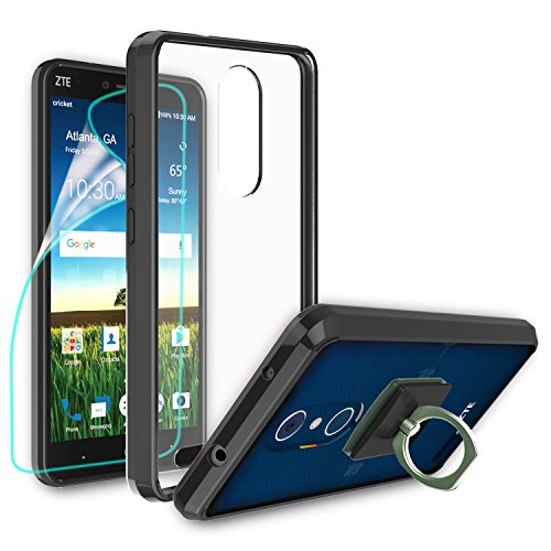 ZTE Blade X Max Case,ZTE Z983 Clear Case Clear Case With HD Screen Protector+Phone Stand,Ymhxcy [Air Hybrid] Ultra Slim Shockproof Bumper Cover For ZTE Z983 CB2-Black (X-blade Window Case)