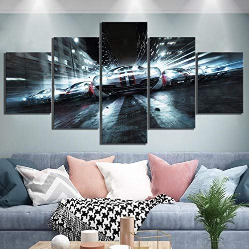 (yisanwu 5 Piece Hd Luxury Sports Car Pictures Race Driver Paintings Video Game Poster Wall Sticker Canvas Art for Home Decor 20X35Cmx2 20X45Cmx2 20X55Cmx1 Frameless)