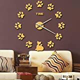 Sucastle Creative, DIY, mirror, wall stickers, cartoon, animal, footprints, wall clock, WYFC