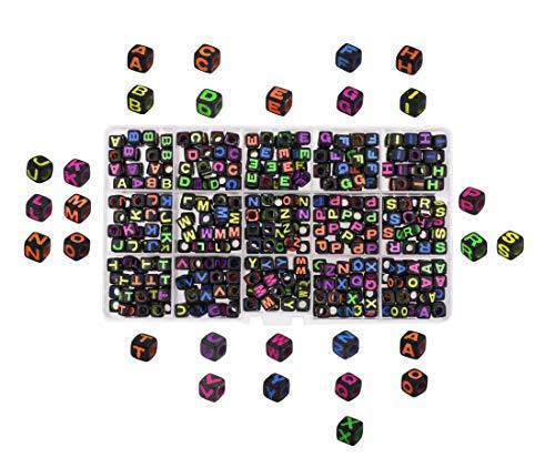 (Mandala Crafts Alphabet Cube Letter Beads for Jewelry Making, Kandi Bracelets, Necklaces; Plastic Pony Beads Box Kit for String Art (6MM, Color on Black))