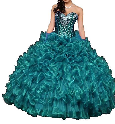 Dydsz Women's Sweetheart Quinceanera Dresses Prom Dress Long Beaded Sequin Ball Gown D15 Teal 12 (Beauty Pageants Dresses)