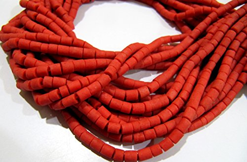 (AAA Quality Natural Coral Plain Pipe Shape Beads / Afghani Coral Tube Shape Beads 3 mm Approximately / Strand 13 inch long / Gemstone Beads)