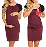 Ekouaer Women's V Neck Button up Short Sleeve Dress Loose Fit Nightgown Wine Red M