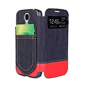 Waveroar Stylish Jean Pocket Design S-View Flip Case Cover Protector Card Holder for SAMSUNG Galaxy i9500/S4 - Red