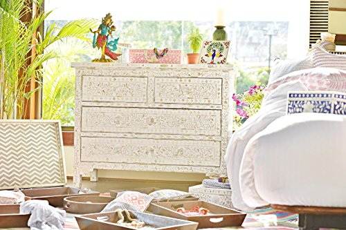 White Mother Of Pearl Inlay Chest Of Drawer