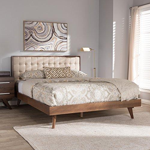 Baxton Studio Platform Bed in Walnut and Light Beige Finish (Queen: 84.65 in. L x 62.99 in. W x 41.34 in. H)
