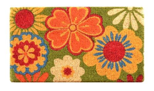 No Trax Designs C11S1830SF Summer Flower Coir Door Mat, 18