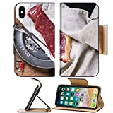 Luxlady Premium Apple iPhone X Flip Pu Leather Wallet Case IMAGE ID 31732672 Raw steak on vintage metal plate over old wooden table