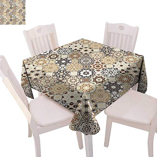 cobeDecor Eastern Patterned Tablecloth Octagonal and Square Ornaments Retro Colored Old Fashioned Tile Dust-Proof Tablecloth 36