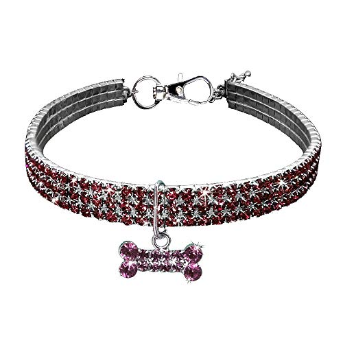 (Hisoul Pet Necklace, Adjustable 3 Rows Rhinestone Clasp Charm Collar Fancy Dog Necklace for Dog and Cat - Prevent Lost (Pink, L-Size:30+5cm) )