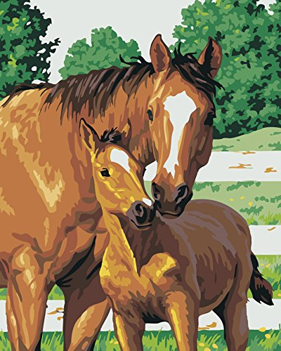 JynXos Wooden Framed Paint By Number Horses Linen Canvas DIY Painting - Mother And Child Horse