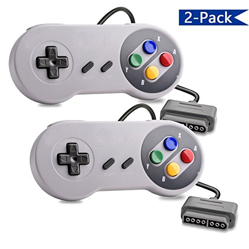 Veanic 2-pack Replacement Retro 16-Bit Controller Gamepad for SNES Super NES Nintendo Entertainment System Console