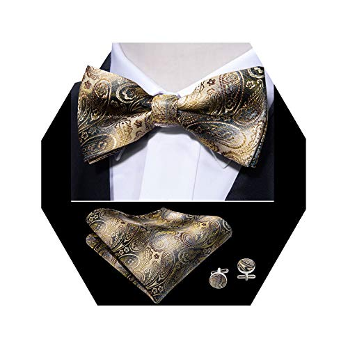 Barry.Wang Mens Silk Gold Bow Tie Pocket Square Paisley Bowtie Cufflinks Mens Necktie Set ()
