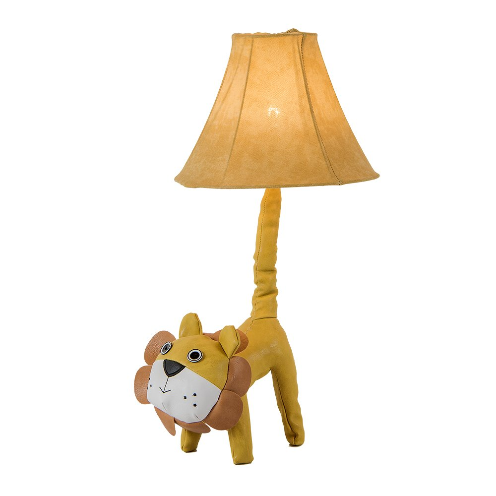 Kids LED Table Lamp, Super Cute Animal Leather Lion Tail Desk Lamps for Children, Cotton Fabric Lampshape, Decoration Led Light Lighting