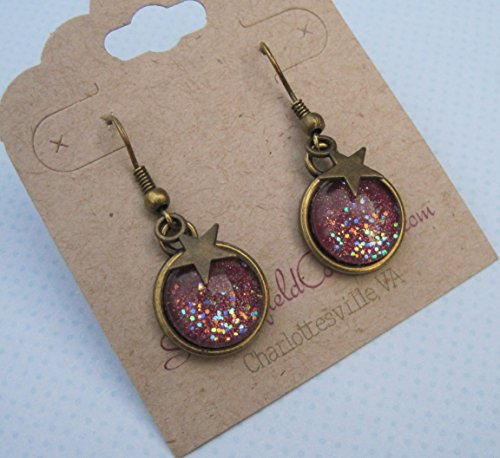 Antiqued Gold-tone Glitter Glass Star Charm Galaxy Dangle Earrings Plum Berry Purple Hand-painted